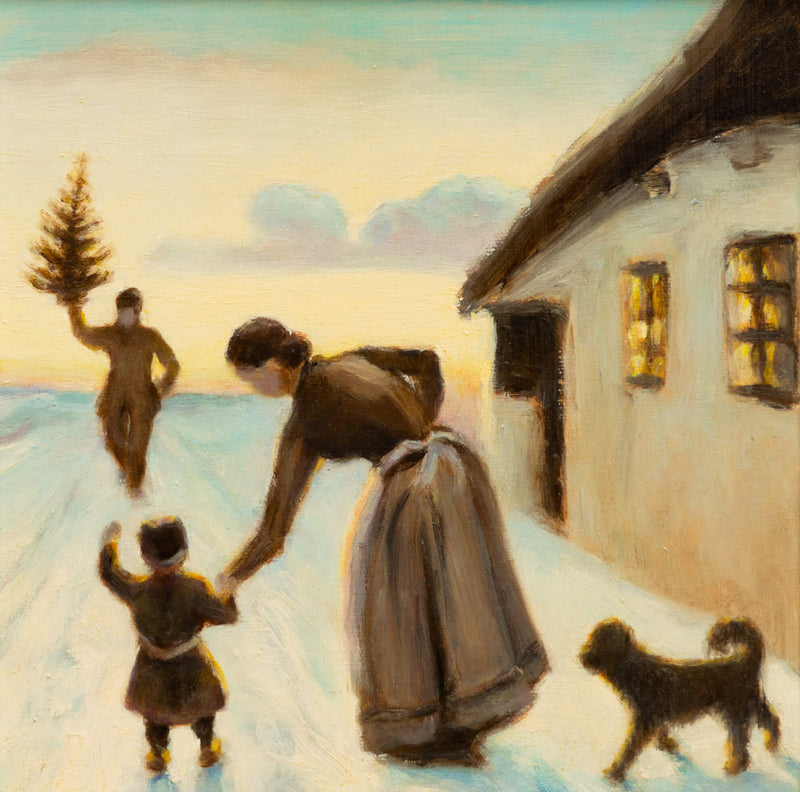 A painted image of a woman with a child watching a man bring a Christmas tree to their house. A dog is also watching in the bottom right corner.
