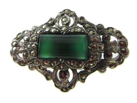 Art Deco sterling chrysoprase brooch