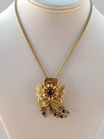 Golden Garden pin & necklace