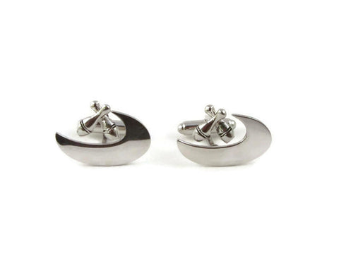 Vintage 1950's silver tone bowling cufflinks