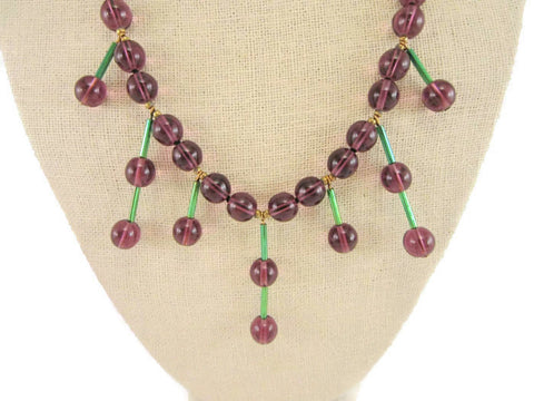 Vintage 1950's glass dangle necklace
