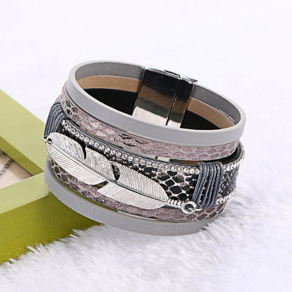 Covered by His Feathers Multilayer Leather Bracelet