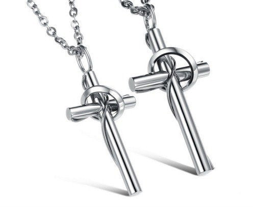 High Polish Stainless Steel Cross Necklace