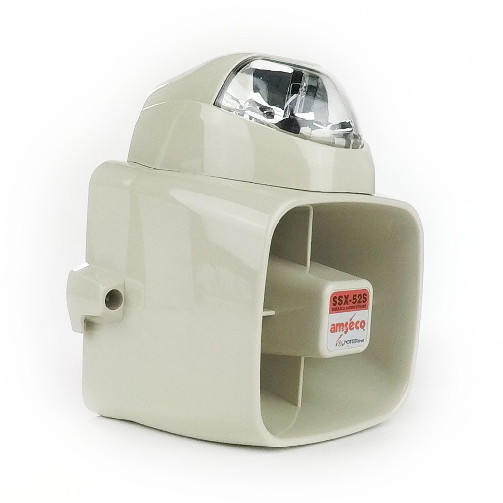 POT-SSX52SC Indoor/Outdoor 15W Siren with Clear Strobe