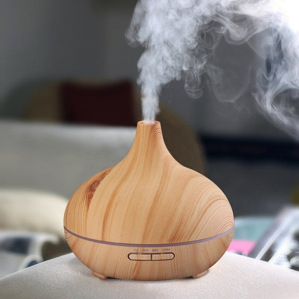 iRelaxer - 300ml Aroma Essential Oil Diffuser Wood Grain Ultrasonic Cool Mist Humidifier for Office Home Bedroom Living Room Yoga Spa