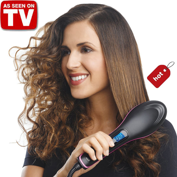 2017 New Brand TV Simply Straight lcd Display Ceramic Electric Hair Straightener Brush Comb Fast Hair Straightener Degital