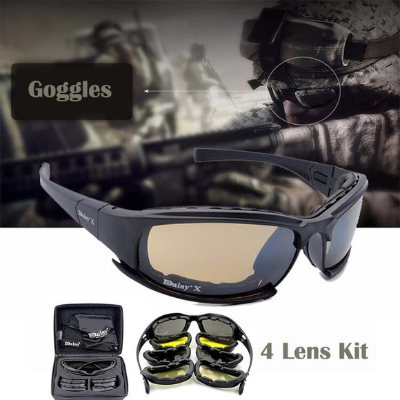 4 Lens Kit Army Goggles Military Sunglasses Men's Outdoor Sports War Game Tactical Glasses (Color: Black) (Color: Black) - Soromade Cycles