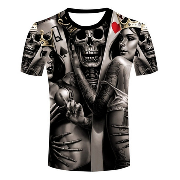 2016 Wholesale  The Dark Poker T-Shirt Fashion Rock Band Queen King Tattoo Skull T Shirts  for women men - Soromade Harley Davidson parts
