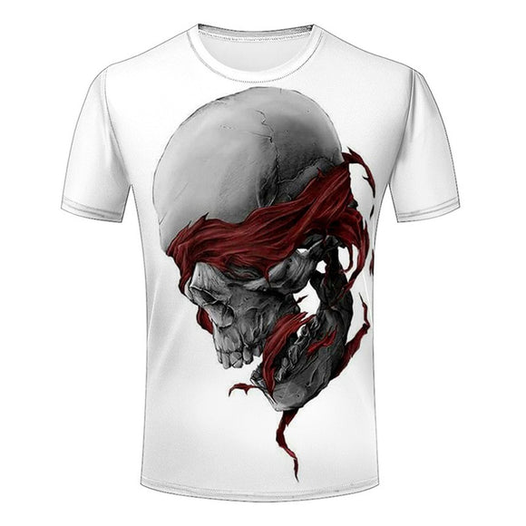 Casual Short Sleeve 3d Creative Skull Graphic Print Hip Pop T-shirt - Soromade Harley Davidson parts