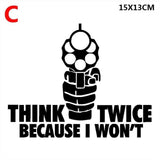 THINK TWICE BECAUSE I WON'T VINYL DECAL HOME SECURITY GUN RIFLE SIGN WINDOW DOOR,Car Sticker,Drop shipping (Buy 2 Get 1 Extra Fr - Soromade Harley Davidson parts