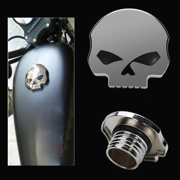 1x 3D CNC Chrome Skull Fuel Gas Tank Cap Cover For Harley Dyna Softail Sportster - Soromade Harley Davidson parts