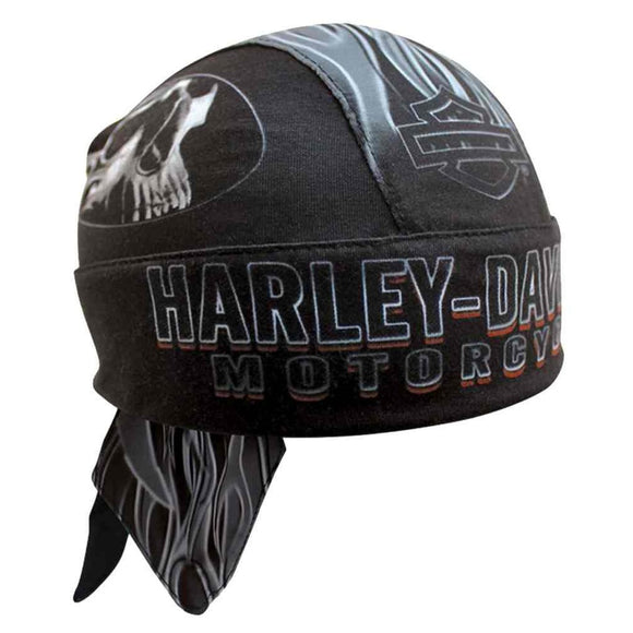 Harley-Davidson Men's Engulfed Flaming Skull Head Wrap 1 size fits - Soromade Harley Davidson parts