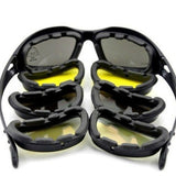 4 Lens Kit Army Goggles Military Sunglasses Men's Outdoor Sports War Game Tactical Glasses (Color: Black) (Color: Black) - Soromade Harley Davidson parts