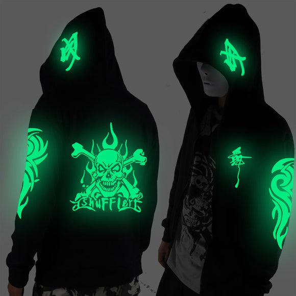 Hoodie 2016 Men and Women Cosplay Coat Skull Jacket Winter Men Zipper Hoodie Luminous Sweatshirt S-3XL - Soromade Harley Davidson parts