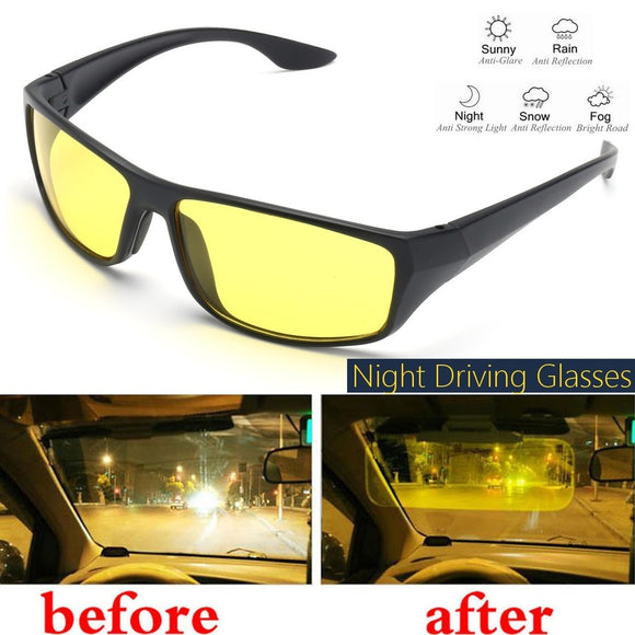 Unisex Night Driving Glasses Anti Glare Vision Driver Safe Sunglasses Goggles (Color: Yellow) - Soromade Cycles