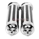 Motorcycle Skull Stripe Chrome Hand Grips Handle Bar 1'' for Harley Softail - Soromade Cycles