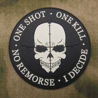 Grey Sniper ONE SHOT ONE KILL NO REMORSE I DECIDE Tactical Military Morale 3D PVC Patch - Soromade Harley Davidson parts