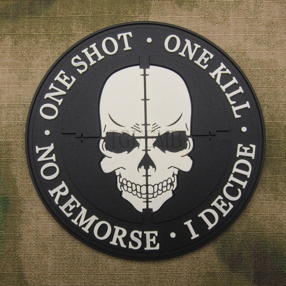 Grey Sniper ONE SHOT ONE KILL NO REMORSE I DECIDE Tactical Military Morale 3D PVC Patch - Soromade Cycles