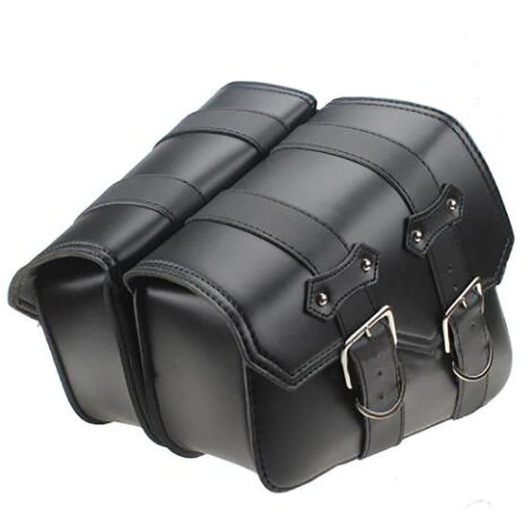 2pcs Motorcycle Leather Side Saddle Bags For Harley Sportster XL883/1200 Black - Soromade Cycles