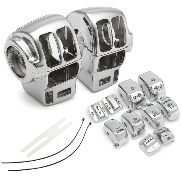 10Pcs Switch Cap + 2Pcs Motorcycle Chrome Switch Housing Cover for Electra Glide / Road King / Road Glide / Tri Glide - Soromade Harley Davidson parts