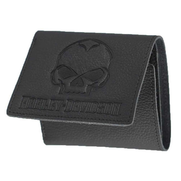 Harley-Davidson Mens Emboss Willie G Skull Leather Tri-Fold Wallet XML4752-BLACK (Size: 4