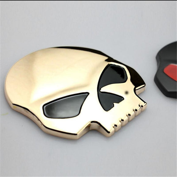 3D Metal Skull Car & Motorcycle Stickers skull emblem badge sticker car styling accessories decals - Soromade Harley Davidson parts