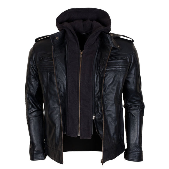 TNA AJ Style Hooded Men's Italian Designer Black Motorcycle Leather Jacket Costume ( XS TO 5XL) - Soromade Harley Davidson parts