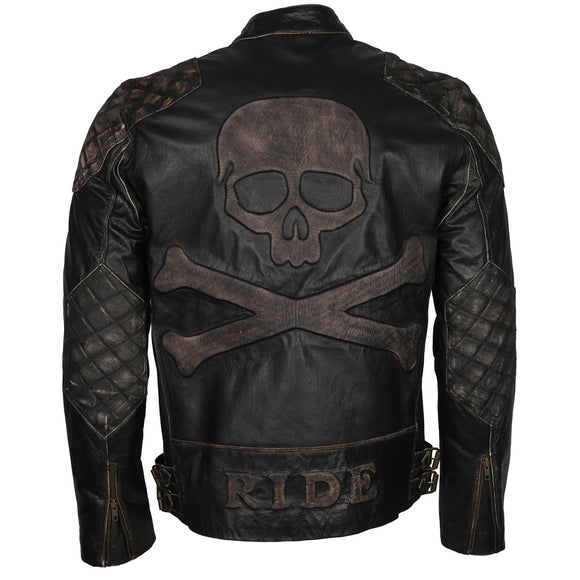 Men Skull Embossed Bad a.s.s  Black Motorcycle Leather Jacket - Soromade Cycles