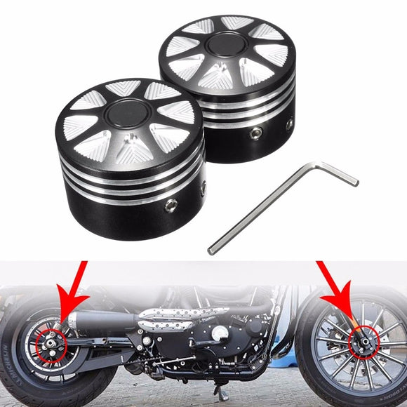 2 X Silver Black Motorcycle CNC Aluminum Front Rear Axle Nut Cover Wheel Cap Kit For Harley Dia:29.5mm/1.16 Inch - Soromade Harley Davidson parts