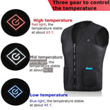 Three Modes Four Size Warm Cotton Heated Vest Electric USB Power Supply Waterproof Carbon Fiber Mens Heated Riding Coat Black 5V - Soromade Harley Davidson parts