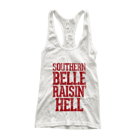 Southern Belle Raisin Hell Racerback Tank Top - Soromade Harley Davidson parts