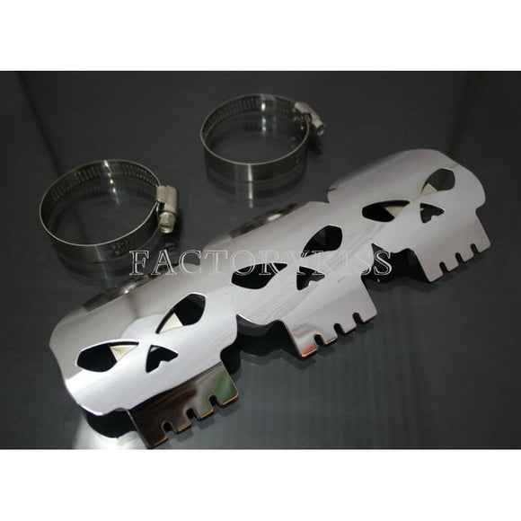 Motor Skull Exhaust Pipe Heat Shield Cover Heel Protector for Harley Chrome FSP - Soromade Harley Davidson parts
