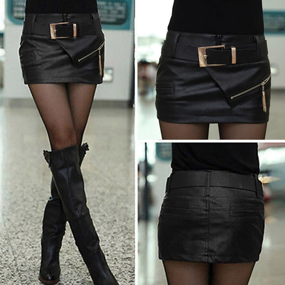 Newest Fashion Women Lady Girl Black Faux Leather Sexy Mini Short Skirt Shorts & Belt - Soromade Harley Davidson parts