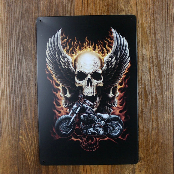 20 X 30 CM Metal Crafts Poster Skull Wings Motorcycle Tin Sign Wall Art Decor,Man Cave Decor - Soromade Cycles