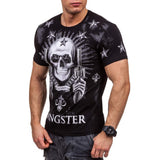 Mens Summer T-Shirt Short Sleeves Tops Skull Printed Tees - Soromade Harley Davidson parts