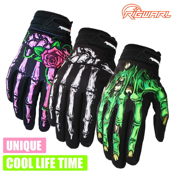 unique Full Finger Skeleton Breathable Mens  Motorcycle Gloves - Soromade Cycles