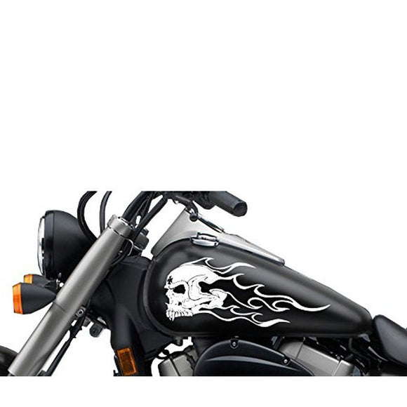 Flaming Fanged Skull Gas Tank Decal 13x6