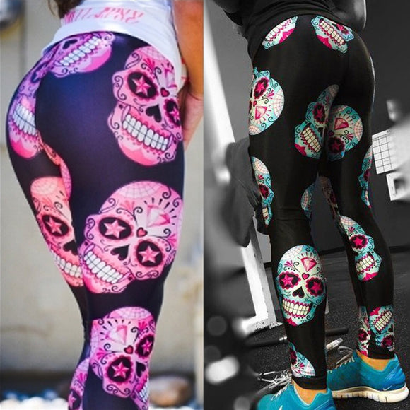 Blue and Purple Sugar Skull Legging Yoga Sport Women Fashion Legging Long Trousers Pants(Color: Black,Pink Size: S-XXL) - Soromade Harley Davidson parts