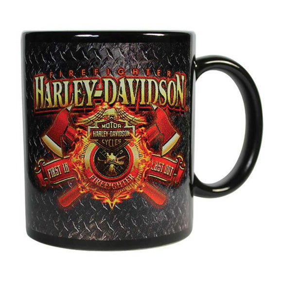 Harley-Davidson Firefighter Original Ceramic Coffee Mug, 11 oz. Black CM126581 (Size: 11 oz., Color: Black) - Soromade Cycles