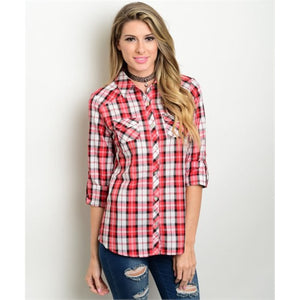 Women's Shirts Plaid Button Down Red And White - Soromade Cycles