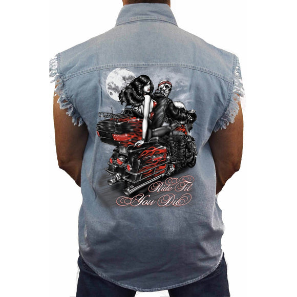 Men's Sleevless Denim Shirt Ride Till You Die - Soromade Harley Davidson parts