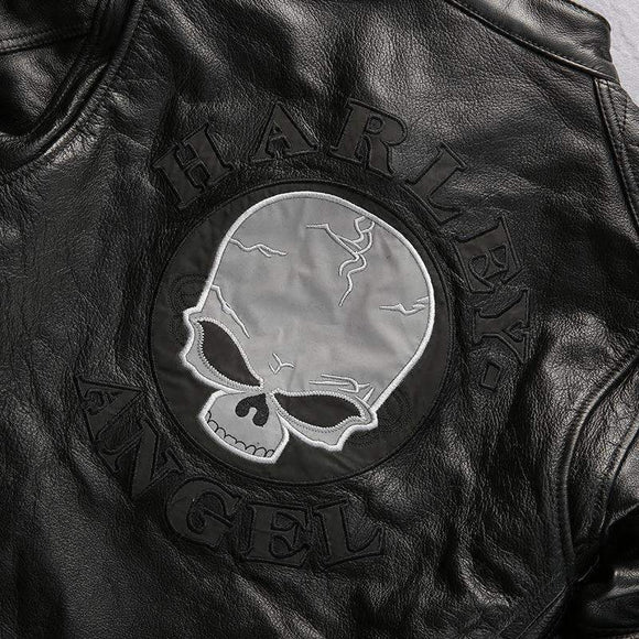 free shipping mens bad a.s.s Harley motorcycle rider skull genuine leather  jacket - Soromade Harley Davidson parts