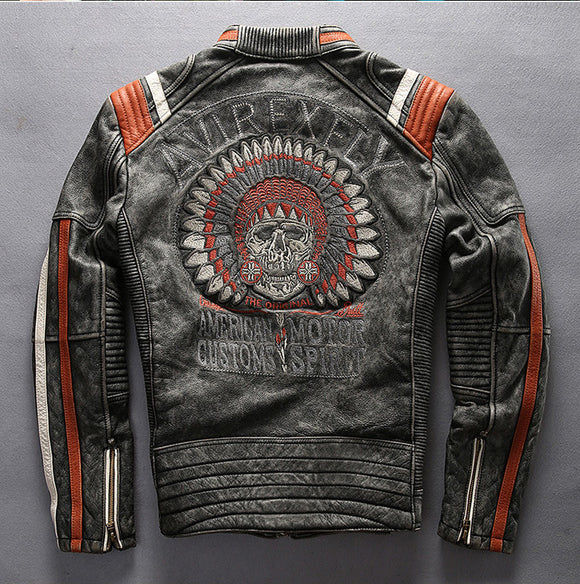 Vintage Indian skeleton leather motorcycle jacket - Soromade Harley Davidson parts
