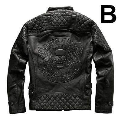 free shipping harley motorcycle riding  leather bad a.s.s skull jacket - Soromade Cycles