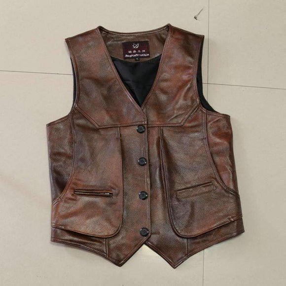 Mens Slim Fit Real Brown Cow Genuine Leather Waistcoat Bikers Vest Size L-8XL - Soromade Harley Davidson parts