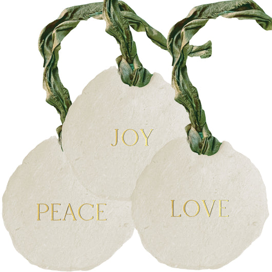 love / joy / peace ornaments / gift tags