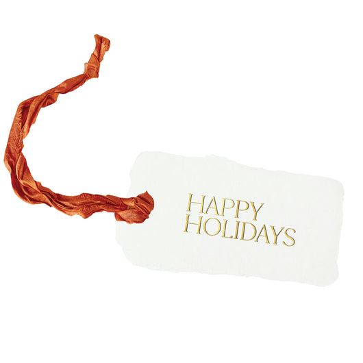 gold happy holidays gift tags