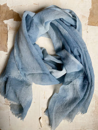 botanically-dyed merino wool scarves : blues