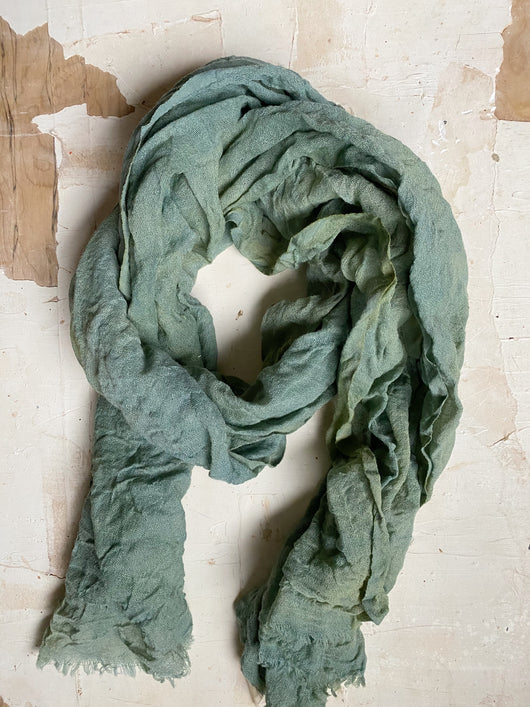 botanically-dyed merino wool scarves : greens