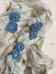 small shapes botanically-dyed handmade crochet earrings : blues